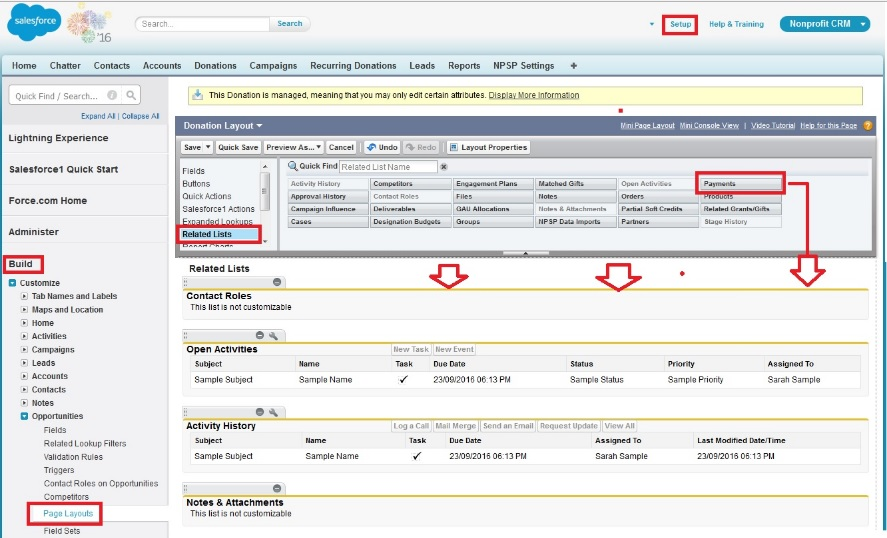 add payments related list to NPSP 3.0 opportunities record
