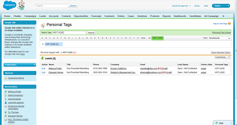 personal tag page in Salesforce